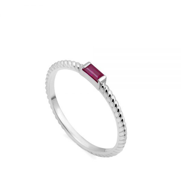 Δαχτυλίδι Λευκόχρυσο 14Κ Ρουμπίνι