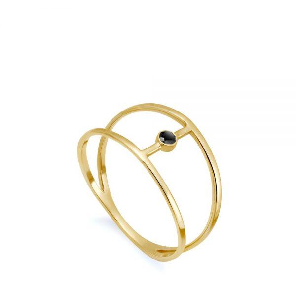 Δαχτυλίδι Διπλό Μαύρο Διαμάντι Κ14