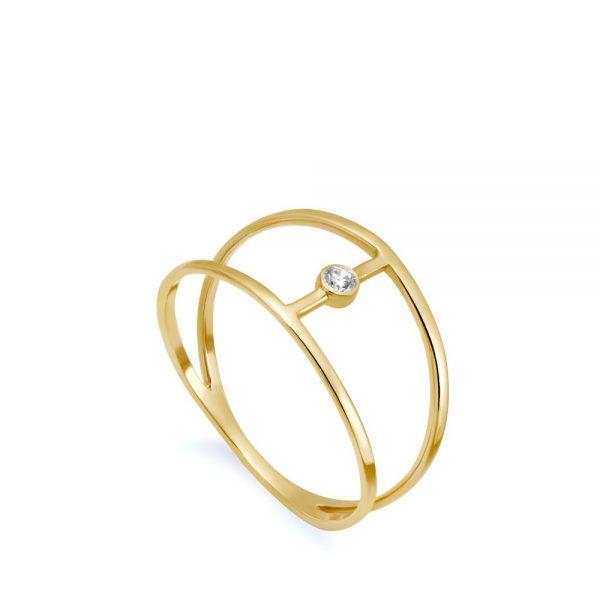 Δαχτυλίδι Διπλό Διαμάντι Κ14