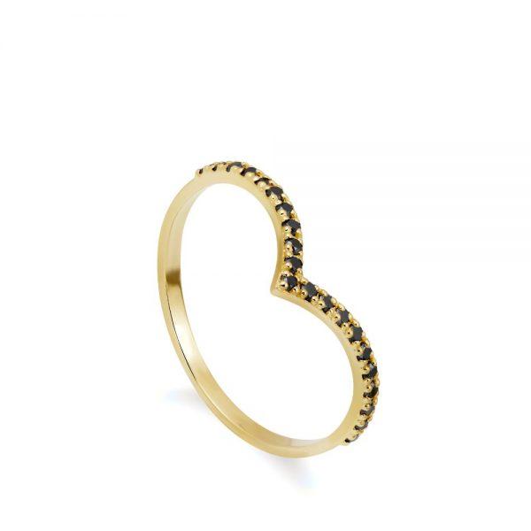 Δαχτυλίδι V Μαύρα Διαμάντια