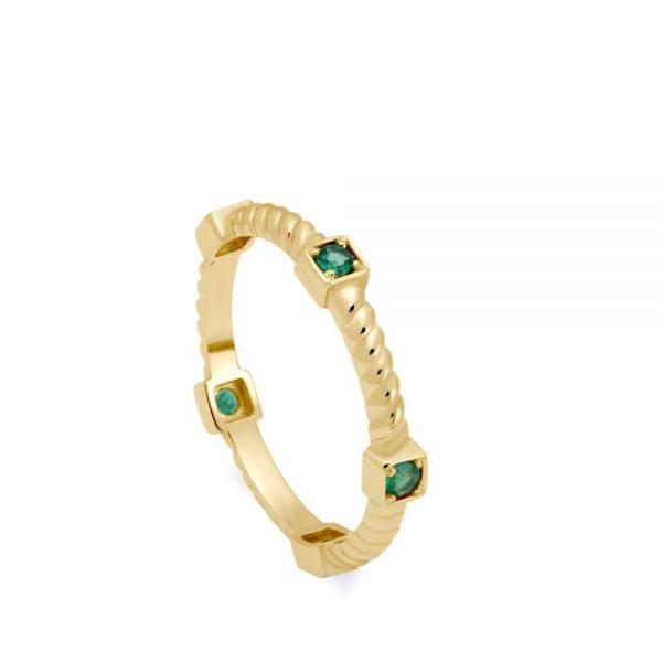 Δαχτυλίδι Twisted Σμαράγδια Χρυσό 14Κ