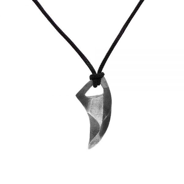 Ανδρικό Κολιέ Knife Οξειδωμένο Ασήμι 925