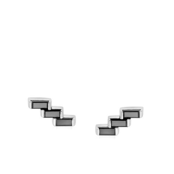 Σκουλαρίκια Διαμάντι Μπαγκέτ Λευκόχρυσο