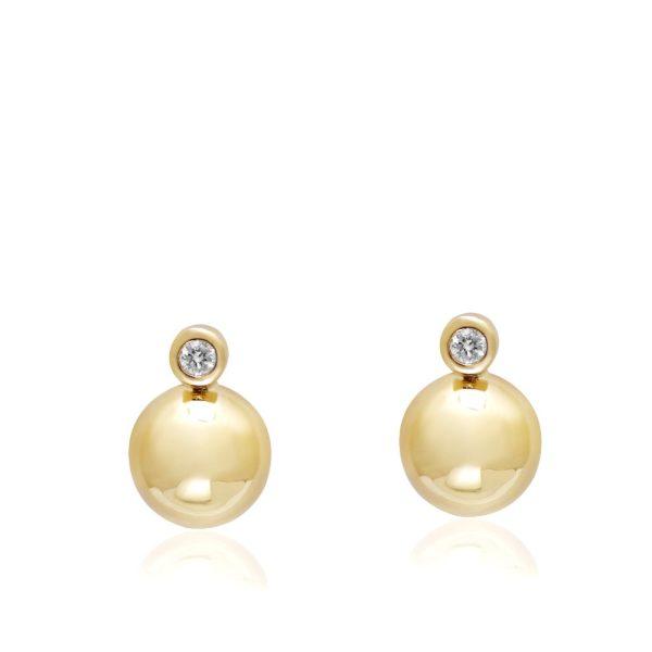 Σκουλαρίκια Bubble με Διαμάντι Χρυσά
