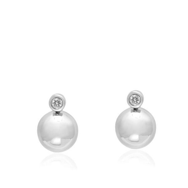 Σκουλαρίκια Bubble με Διαμάντι σε Λευκόχρυσο