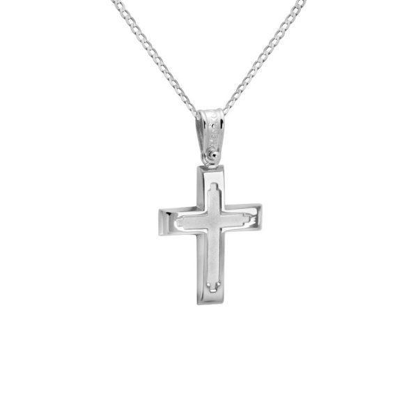 Λευκόχρυσος Βαπτιστικός Σταυρός Ανάγλυφος