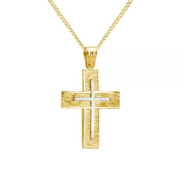 Δίχρωμος Σταυρός Βάπτισης 14Κ με Αλυσίδα