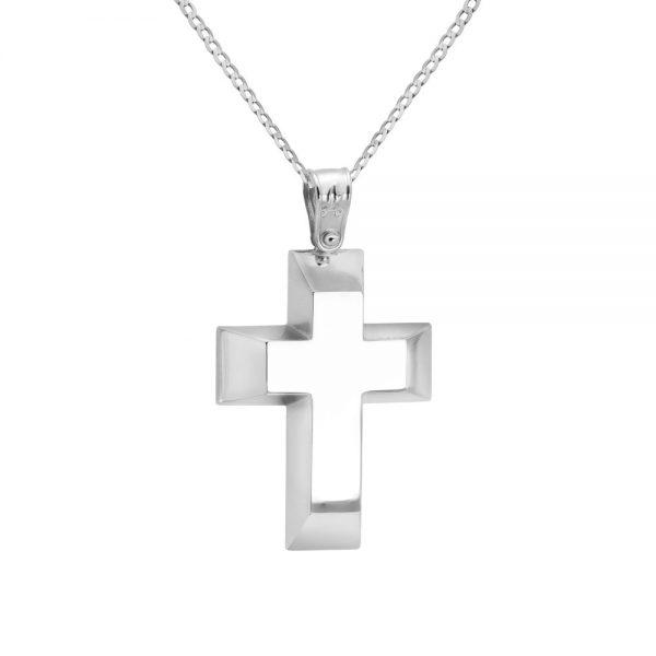 Λευκόχρυσος Βαπτιστικός Σταυρός Statement με Αλυσίδα