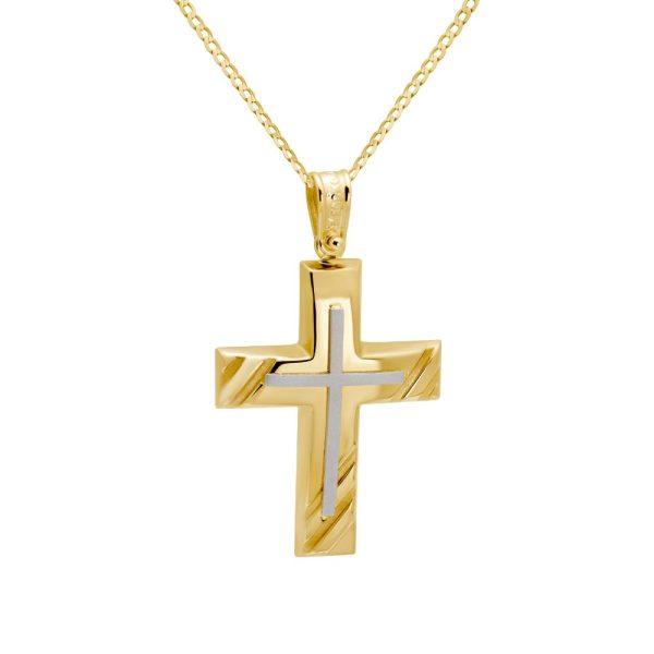 Κλασικός Δίχρωμος Βαπτιστικός Σταυρός