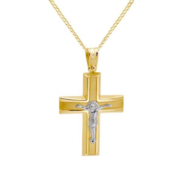 Δίχρωμος Κλασικός Σταυρός με τον Εσταυρωμένο