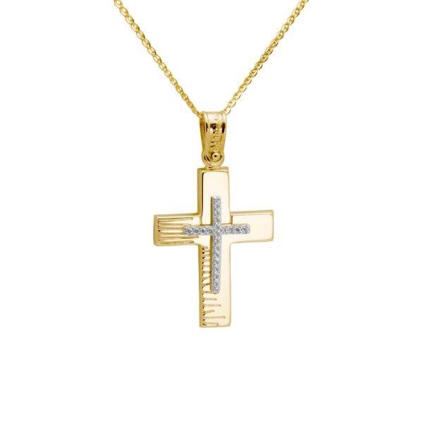 Σταυρός Βάπτισης Χάραγμα Ζιργκόν Χρυσός