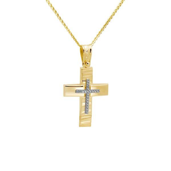 Σταυρός Ανάγλυφος με Ζιργκόν Χρυσός