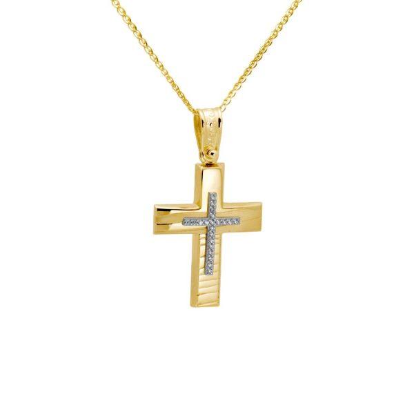 Σταυρός Ανάγλυφος με Ζιργκόν 14Κ