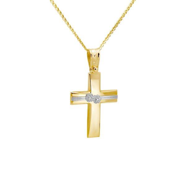 Σταυρός Βάπτισης με Λουλούδια Χρυσός