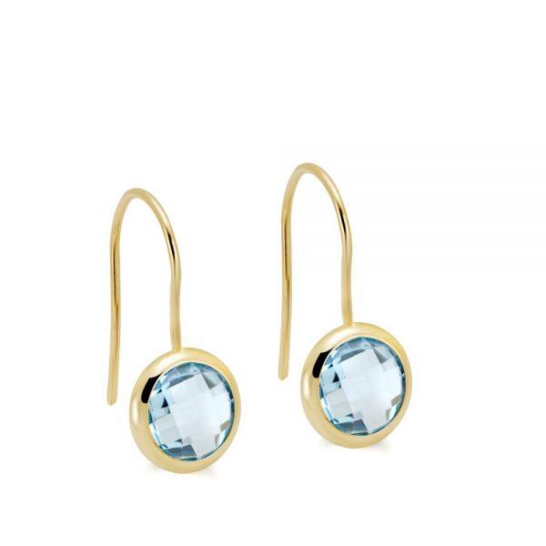 Σκουλαρίκια Χρυσά Ημιπολύτιμες Πέτρες 8mm