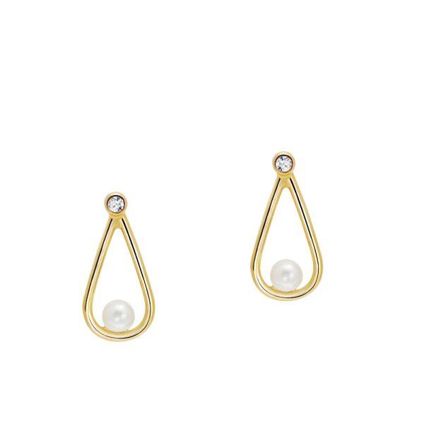 Σκουλαρίκι Δάκρυ Διαμάντι Μαργαριτάρι Χρυσό
