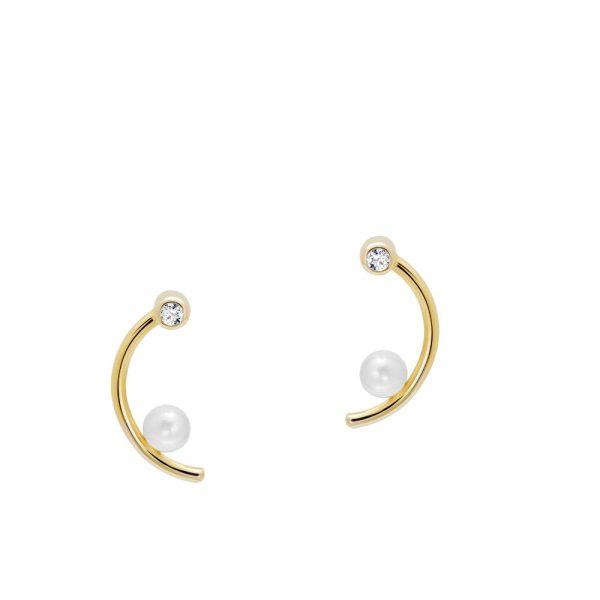 Σκουλαρίκια Μισοφέγγαρο Διαμάντι Μαργαριτάρι Χρυσά