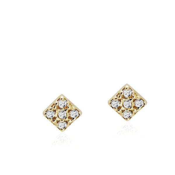 Σκουλαρίκια Τετράγωνα Διαμάντι Χρυσά