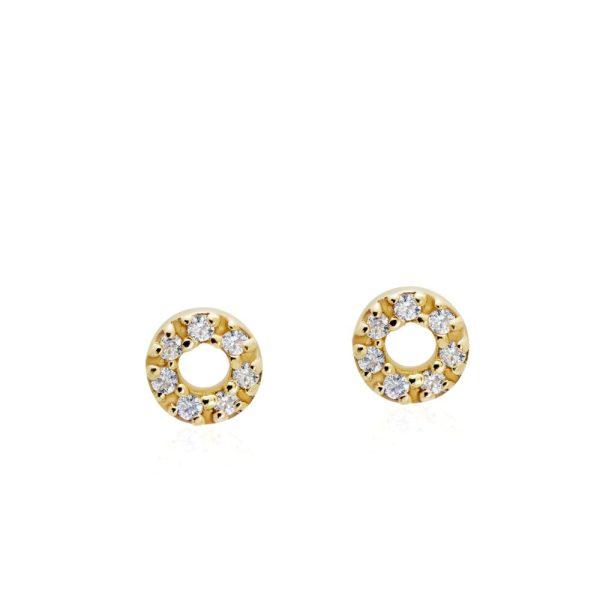Σκουλαρίκια Περίγραμμα Κύκλος Διαμάντια Χρυσά
