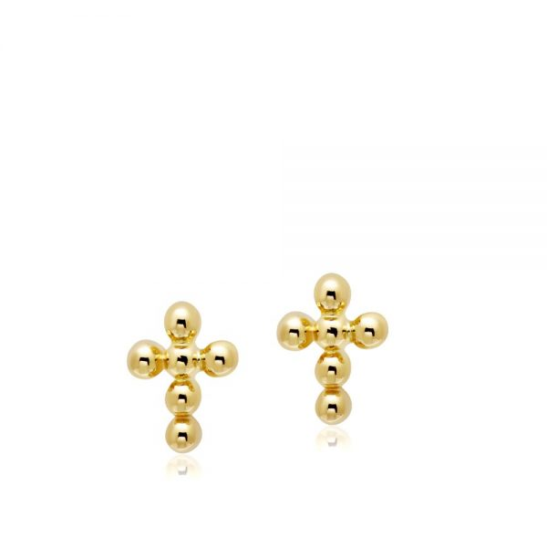 Σκουλαρίκια Dot Σταυρός Χρυσά