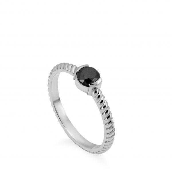 Δαχτυλίδι Μαύρο Διαμάντι Στριφτό Λευκόχρυσο