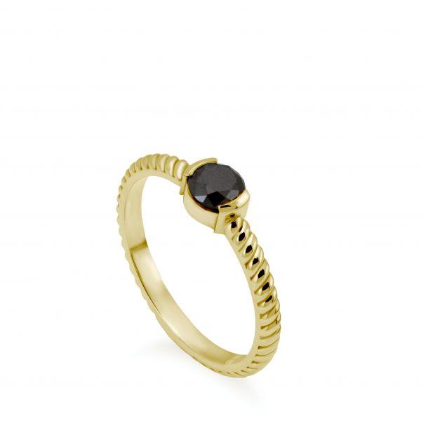 Δαχτυλίδι Μαύρο Διαμάντι Στριφτό Χρυσό