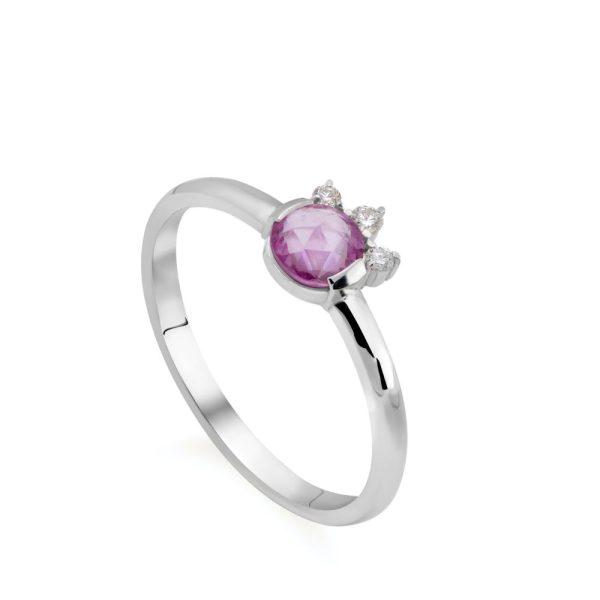 Δαχτυλίδι Ροζ Ζαφείρι Διαμάντι 14Κ