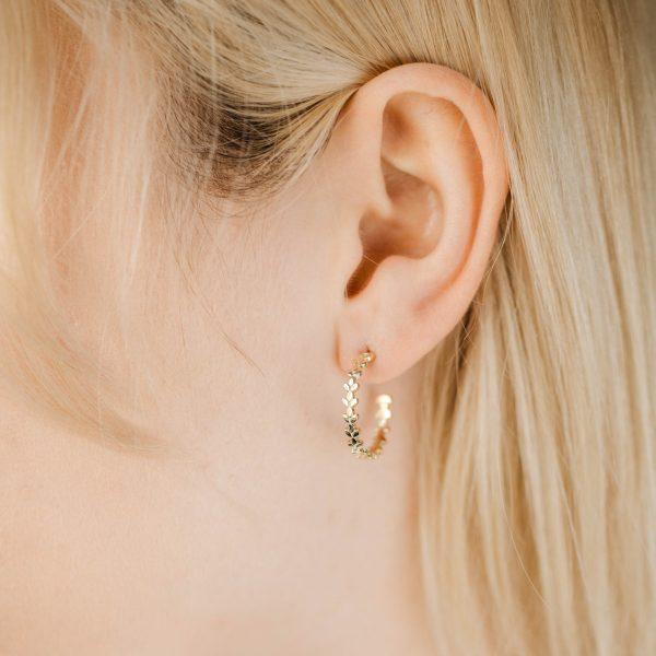 Σκουλαρίκια Κρίκοι Φύλλα Χρυσό 14Κ