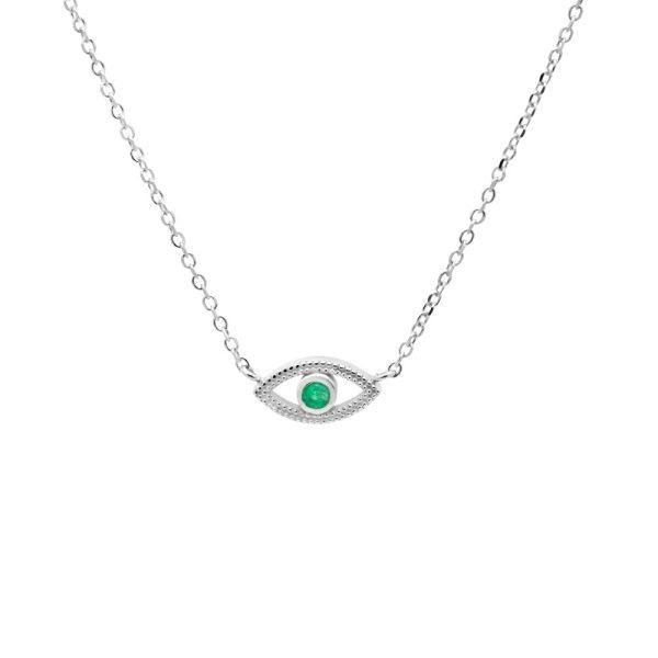 Κολιέ Μάτι Πράσινο Σμαράγδι Λευκόχρυσο