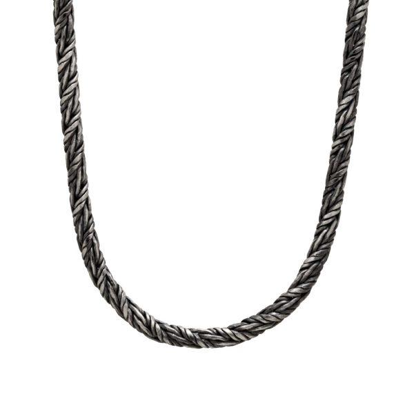 Ανδρική Αλυσίδα Στριφτή Οξειδωμένο Ασήμι 925