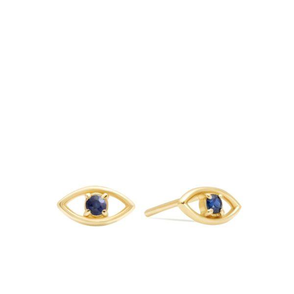 Σκουλαρίκια Μάτι Μπλε Ζαφείρι Χρυσά