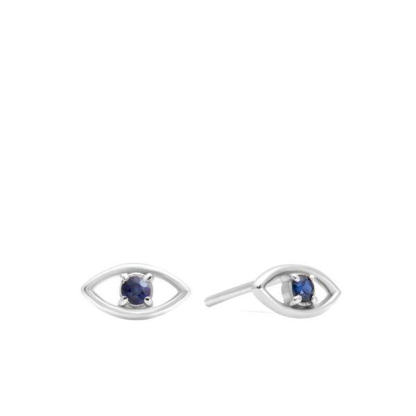 Σκουλαρίκια Μάτι Μπλε Ζαφείρι Λευκόχρυσα