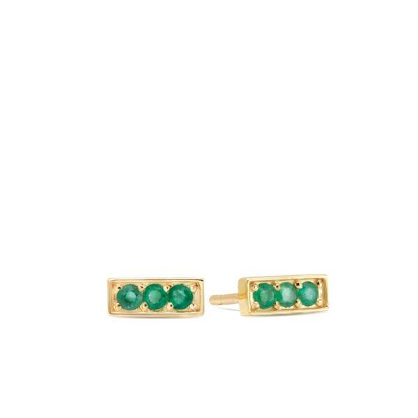 Σκουλαρίκια Μπάρα Χρυσά με Σμαράγδια