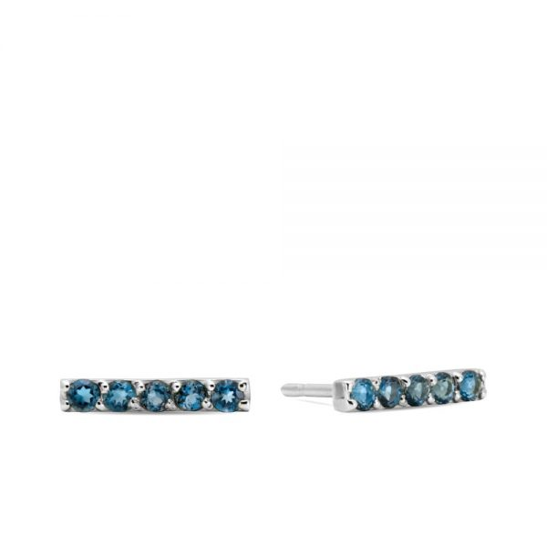 Σκουλαρίκια Μπάρα Λευκόχρυσο με Τοπάζ