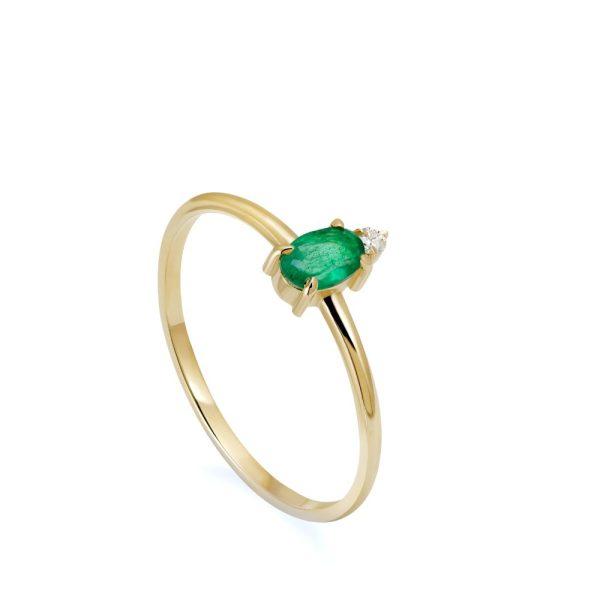 Δαχτυλίδι Χρυσό Οβάλ Σμαράγδι Διαμάντι