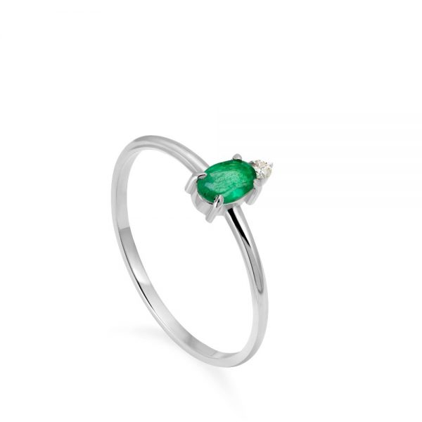 Δαχτυλίδι Λευκόχρυσο Οβάλ Σμαράγδι Διαμάντι