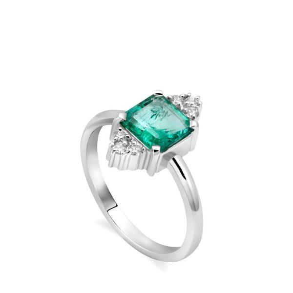 Δαχτυλίδι Γυναικείο Σμαράγδι Διαμάντια 14Κ