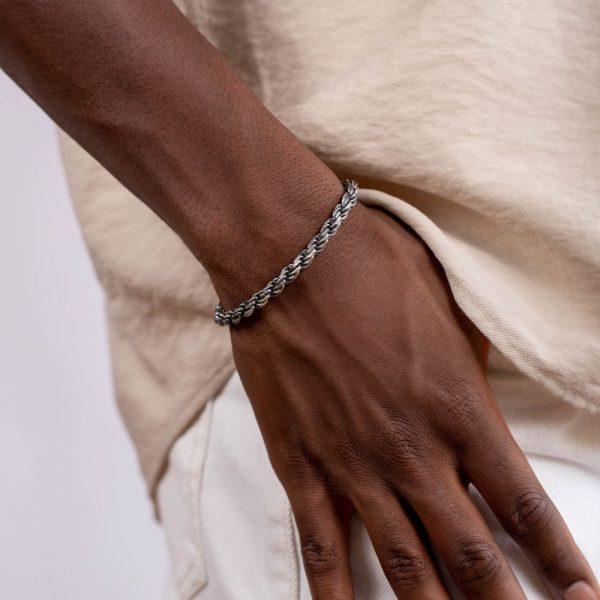 Ανδρικό Βραχιόλι Rope Οξειδωμένο ΑσήμιΑνδρικό Βραχιόλι Rope Οξειδωμένο ΑσήμιΑνδρικό Βραχιόλι Rope Οξειδωμένο Ασήμι