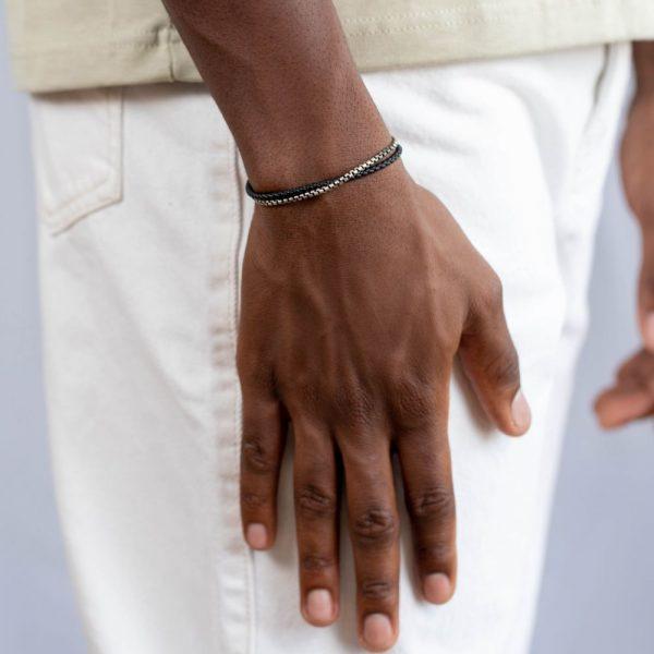 Ανδρικό Βραχιόλι Διπλό Δέρμα Αλυσίδα