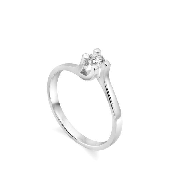 Δαχτυλίδι Μονόπετρο 18Κ Διαμάντι 0.18ct σε Φλόγα